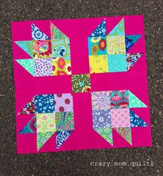 "crazy mom quilts: big, big bear paw finishing at 28"" square"