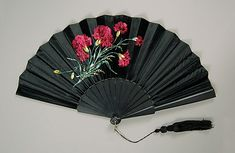Fan Made Of Wood, Silk And Jet - American   c.1885  -  The Metropolitan Museum Of Art