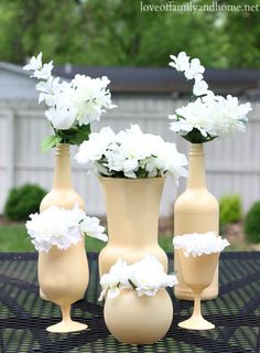 yellow-spray-painted-centerpieces