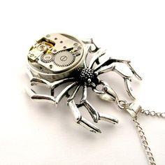 Halloween Spider Pendant   Steampunk Spider watch by SteamSect, $35.00