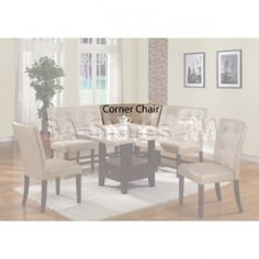 10283 Britney Button Tufted Cream Bycast Leather Corner Chair