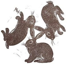 Three Rabbits, rubber block print by AEGN, 2009; The golden shoes, lithograph(?) by Marjorie Flack, from The Country Bunny and the Little Gold Shoes by Du Bose Heyward, 1939