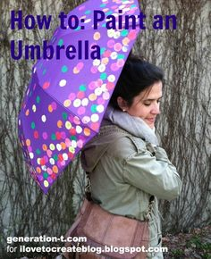 Decorate an Umbrella with Fabric Paint!  not a fan of the design but good to know what kind of paint to use