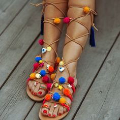 ff1c6ac5a76c85 High Knee Gladiator Bohemian Pom Pom Sandals   Greek Real Leather Sandals  Decorated    Lace