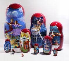 Nesting dolls Ballet Matryoshka doll Ballerina Set of 10 pieces Art Watercolor Acrylic Paint Wooden doll souvenir gift