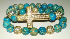 2pc Imperial Jasper Pave Cross Stretch Bracelet Set by NGeniousCreations, $50.00