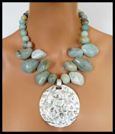 AQUAMARINE - Aquamarine Nuggets - Amazonite Beads - Handcast Hammered Pendant Necklace by sandrawebsterjewelry on Etsy