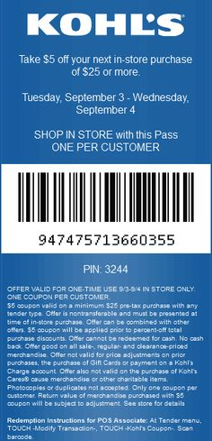 Pinned August 29th: $5 off $25 Tuesday at #Kohls #coupon via The Coupons App