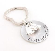 My Angel Dog Personalized Names Hand Stamped Keychain