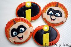 Hand Decorated Cookie Gifts for the Celebrations in Your Life Disney Cupcakes, Disney Cookies, Incredibles Birthday Party, Halloween Birthday, Cake Pops, Cartoon Cookie, 6th Birthday Parties, Third Birthday, Cookies For Kids