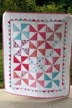 My first quilt!! I followed a Moda Bake Shop recipe and used Sarah Jane fabrics.