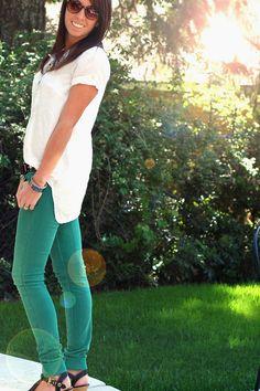 Flowy white top/green pants. Cute!