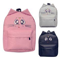 Oído de Gato de La Flor de Impresión Mochila de Lona de Las Mujeres de Dibujos Animados Bolsa de Hombro Schoolbag Mochilas para Adolescentes Bolsa de Viaje Mochila