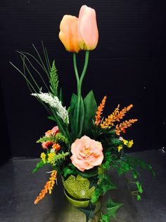 Peach tulip custom floral by Andrea for Michaels Round Rock
