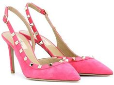 Valentino Garavani Rockstud slingback pumps - pink Valentino pumps Hot Pink Heels, Pink Pumps, Satin Pumps, Suede Pumps, Leather Pumps, Valentino Pumps, Valentino Rockstud, Rockstud Pumps, Embellished Sandals