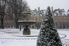 Paris Photography Snow in Paris Christmas Place by rebeccaplotnick