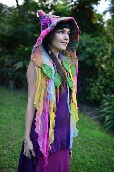Nuno Felted Rainbow Fairy Leaf And Vine Pixie Pointed Hooded Flower Hat Bonnet OOAK