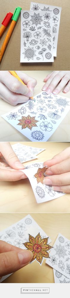 Adult coloring books are great, but it can be even better! That's a perfect combination of a flower coloring page and cool paper stickers. They make wonderful decoration for a planner for adults or a party favor for your kids' party :) These flower stickers are printed onto high quality white adhesive paper and can be colored with all your favorite pencils and pens.  adult colouring stickers, planner stickers, cool stickers, flower stickers, flower colouring page, mandala stickers, white…