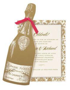 Champagne Diecut Invitations