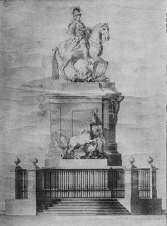 1º projecto para a estátua equestre da Praça do Comércio, da autoria de Eugénio dos Santos (Arquivo Municipal de Lisboa)