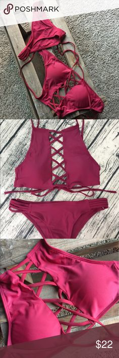 Red Wine swimsuit (brand new/original packaging) Ordered this suit and it is too small for me. Sadly!! It's great quality. Claims to be a medium but it fits like a small top, xs bottom. High cut bikini bottom. Super cute! Swim Bikinis
