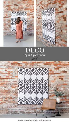 Deco is a modern quilt pattern that is inspired by the Roaring 20s. This art deco design is written for three sizes: baby, throw and bed. This pattern uses a variety of techniques including strip piecing, on-point construction, log cabin blocks and snow-balling. The negative space is great for showing off any sort of quilting design that you wish to do! The pattern is labeled as Intermediate. Quilting Tutorials, Quilting Designs, Two Color Quilts, Modern Quilt Patterns, Art Gallery Fabrics, My Cup Of Tea, Roaring 20s, Quilt Kits, Longarm Quilting