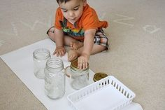 match different size lids to jars. fine motor, too.