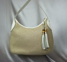 Talbots bag straw metallic bag straw purse 80's by PurseFancy