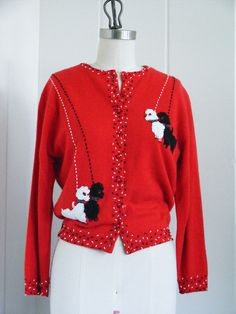 1950's Vintage Red Poodle Sweater with Beaded Poodles. $275.00, via Etsy.