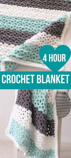 This free crochet baby blanket pattern can be worked in just 4 hours. The pattern is beginner friendly and quick to work up. Chunky and lacy, you cannot go wrong with this afghan. #crochetblanket, #freecrochetblanket, #bernatbalnketyarnpattern, #crochetbabyblanket