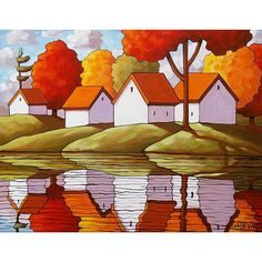 Art Print 5x7 Folk Giclee Autumn Cabin Retreat Late Summer Cottages Trees Water Reflection, Fall Landscape Reproduction Artwork by Horvath