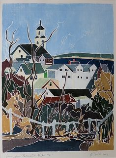 """""""View From Monument Hill #6,"""" Kathi Smith, 2002, white-line woodblock, 13.75 x 10.25"""", private collection."""