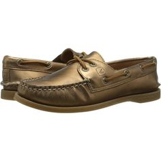 Sperry Top-Sider A/O 2-Eye Metallic (Bronze) Women's Lace up casual... ($53) ❤ liked on Polyvore featuring shoes, loafers, bronze, boat shoes, lace up moccasins, long shoes, sperry and laced shoes