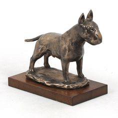 Bull Terrier dog wooden base statue limited by ArtDogshopcenter