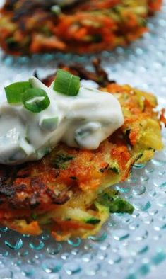 "three square: Summer Vegetable Pancakes with Basil Chive Cream.i'm sold at ""basil chive cream"" Think Food, I Love Food, Good Food, Yummy Food, Tasty, Delicious Meals, Vegetable Recipes, Vegetarian Recipes, Cooking Recipes"