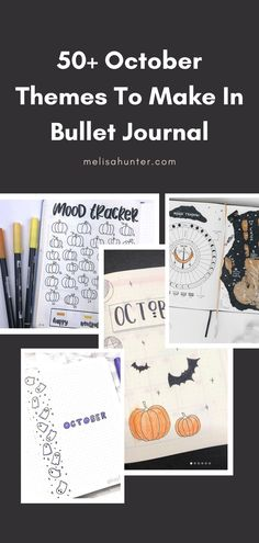 50+ October Themes To Make In Bullet Journal Can you believe it's almost October now? To be honest, I can't. But here we are, and I found so many beautiful spreads that I wanted to share them with you. They're only October themes that other creators made in previous years. They're easy to make, so if you're like me and you don't know how to draw and make all these beautiful spreads I got you covered. Simple doodles, a lot of stickers and photos, and your bullet journal will look beautiful!