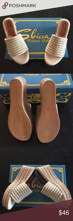 """Sbicca wedge sandals Sbicca bungalow wedge sandals, size 8. Natural straw color. 3"""" heel with 1"""" platform. New in box with packaging. Sbicca Shoes Platforms"""