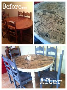 Dining Table Chairs, Tables, Loose Tooth, Interior Shop, Shop Interiors, Spray Painting, Decoupage, Upcycle, Upholstery
