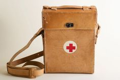 Vintage Leather First Aid Case / Red Cross by TuTuVintageBeautiful, $85.00