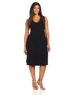 Karen Kane Plus-Size Black Faux Suede Yoke Flare Dress #Karen_Kane #Plus_Size #Fashion #Amazon