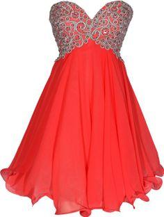 Chiffon Embroidered Babydoll Prom Dress at Amazon Women's Clothing store