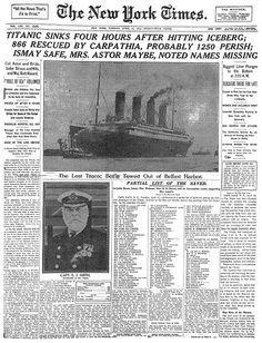 Titanic headlines on the New York TImes' newspaper April 16th.