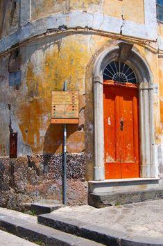This photo from Naples, Campania is titled 'Ravello Detail'. Cool Doors, Unique Doors, Knobs And Knockers, Door Knobs, Orange Door, When One Door Closes, Door Gate, Grand Entrance, Positano