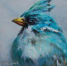 olieverf turquoise vogel, maat 10 x 10 cm op paneel te koop voor euro 55,00 + verzendkosten