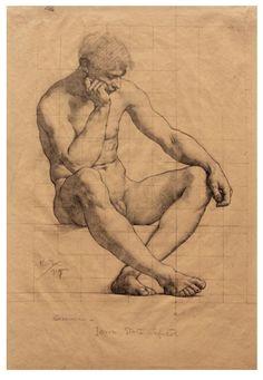 Kenyon Cox, nude male figure anatomy drawing