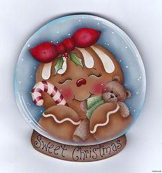 "HP GINGERBREAD ""Sweet Christmas"" SnowGlobe FRIDGE MAGNET"