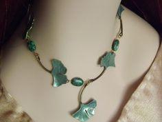 Ginkgo Leaf Necklace - Green Leaf Necklace - Sage Green Ginkgo Leaves Choker Necklace - Elven Nature Jewelry, Ginkgo Leaves Hand Painted