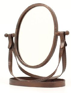 Western Decor Rustic Oval Table Top Mirror