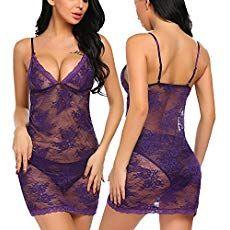 d202c89b09c Avidlove Women Lingerie V-Neck Babydoll Lace Sleepwear Dress Mesh Chemise  Purple S