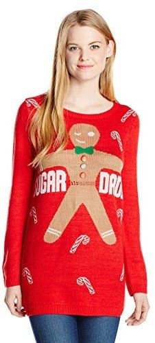 Isabella's Closet Women's Sugar Daddy' Gingerbread Ugly Christmas Sweater Tunic